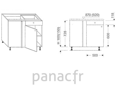 meuble angle cuisine mesure