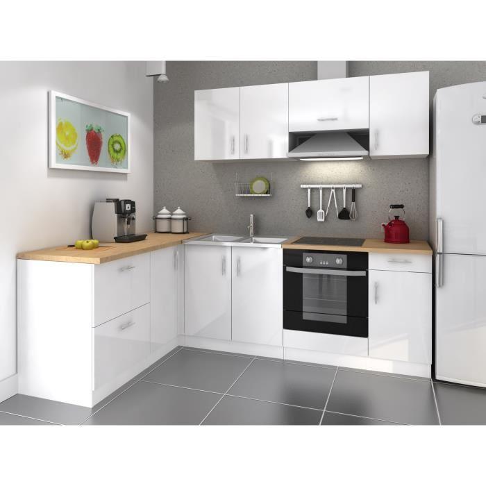 meuble bas cuisine blanc laque