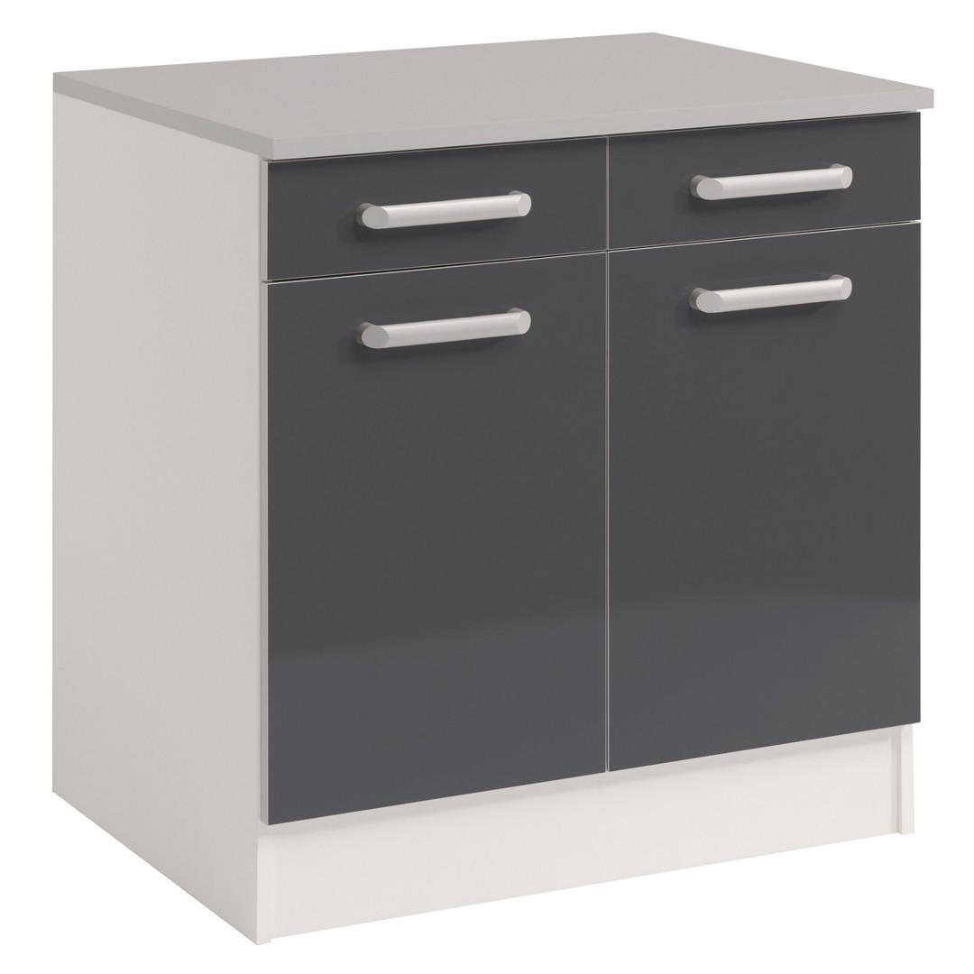 meuble bas cuisine gris laque