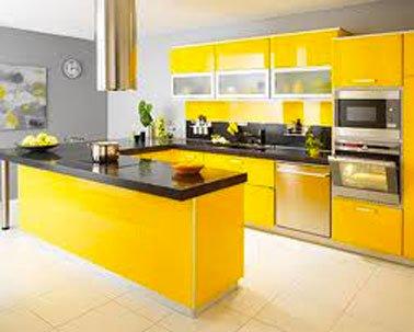 meuble bas cuisine jaune