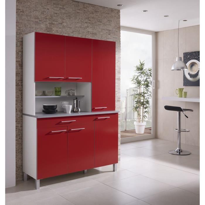 meuble bas cuisine rouge cdiscount
