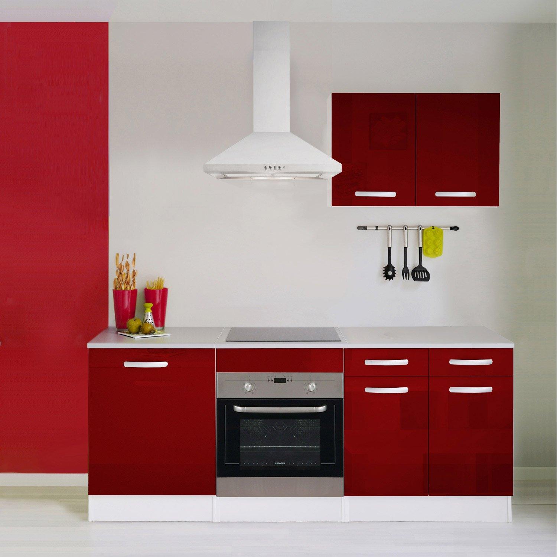 meuble bas cuisine rouge leroy merlin