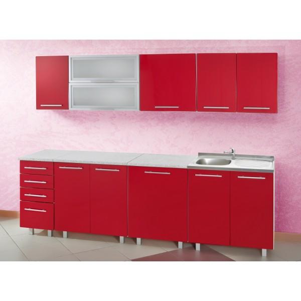 meuble bas cuisine rouge pas cher