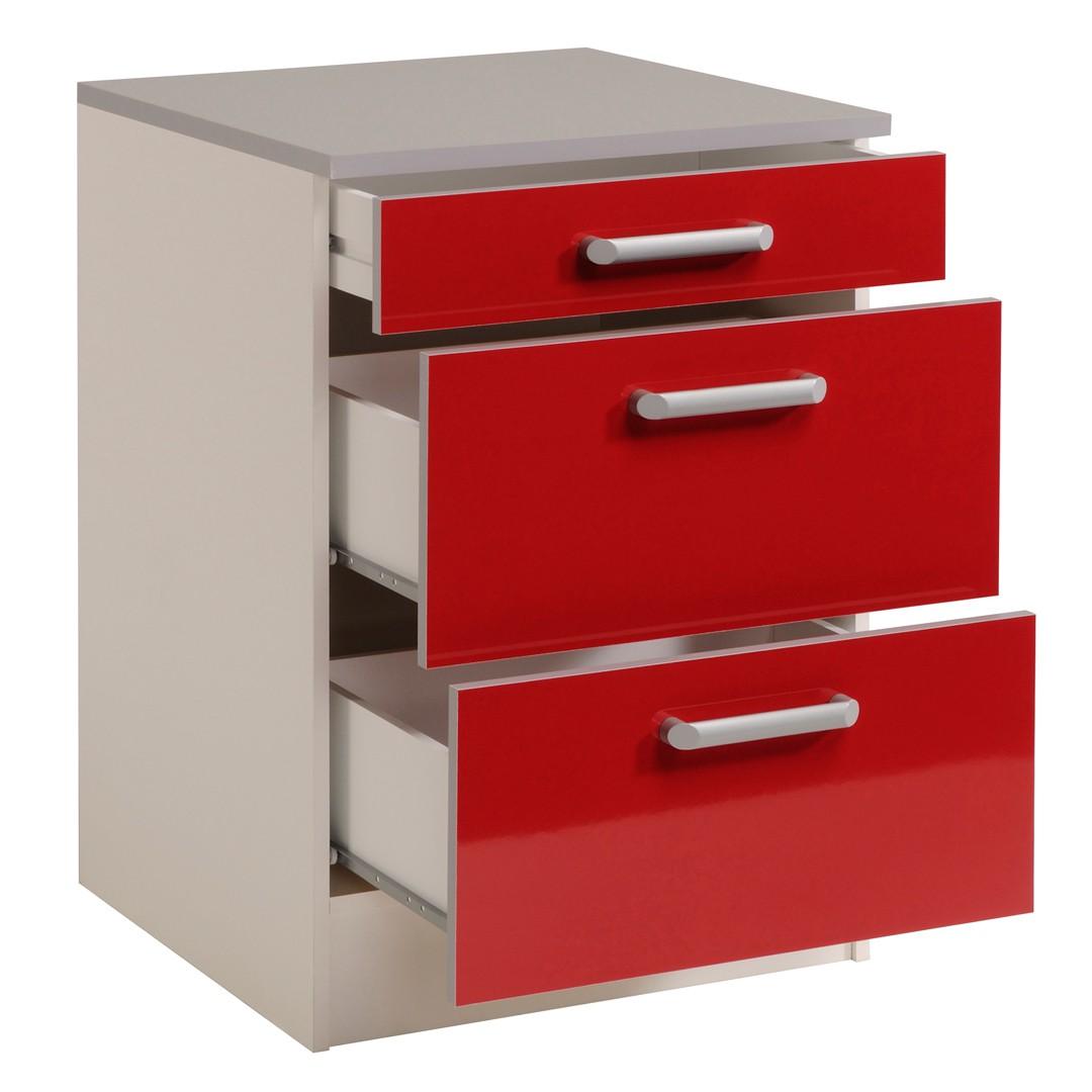 meuble bas cuisine rouge tiroir