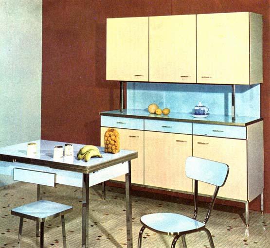 meuble cuisine formica bleu