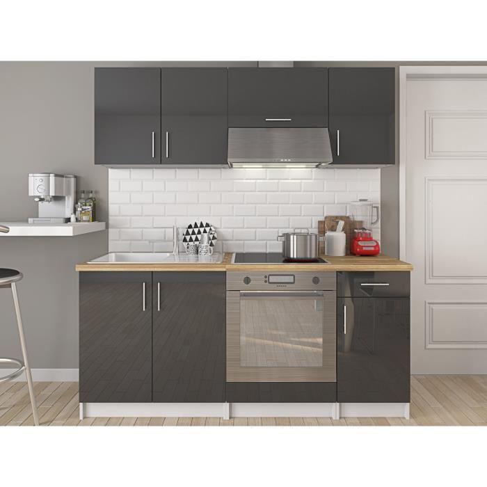 meuble cuisine gris laque