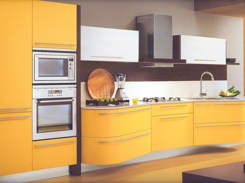 meuble cuisine jaune orange