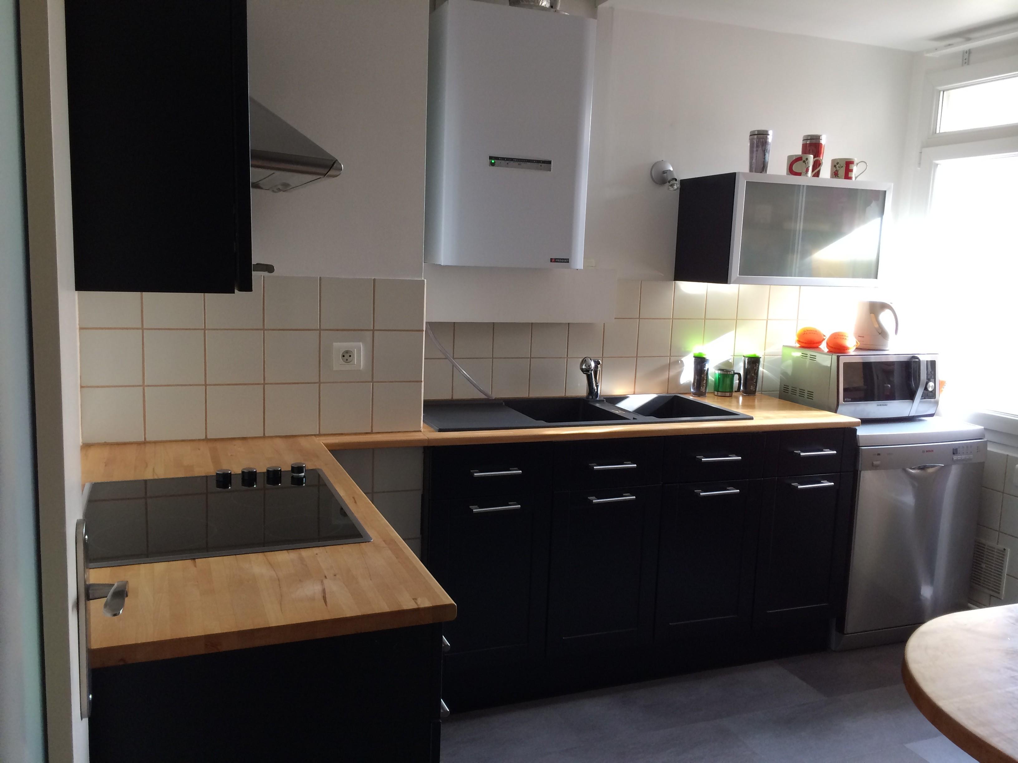 meuble cuisine noir et bois