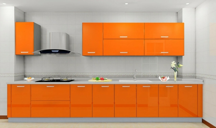 meuble cuisine orange