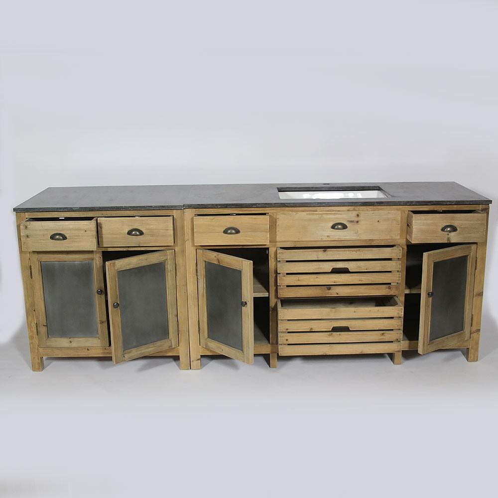 meuble cuisine pin et zinc