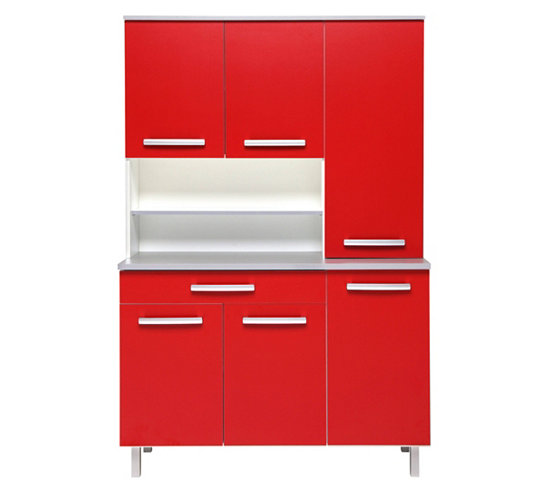 meuble cuisine rouge but