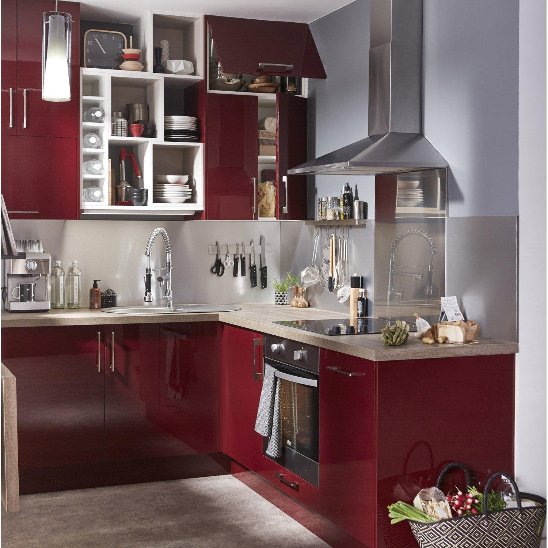 meuble cuisine rouge leroy merlin