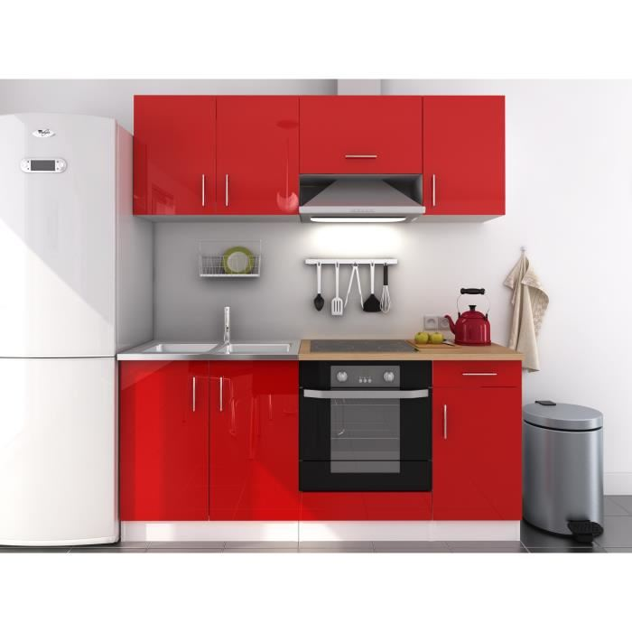 meuble cuisine rouge