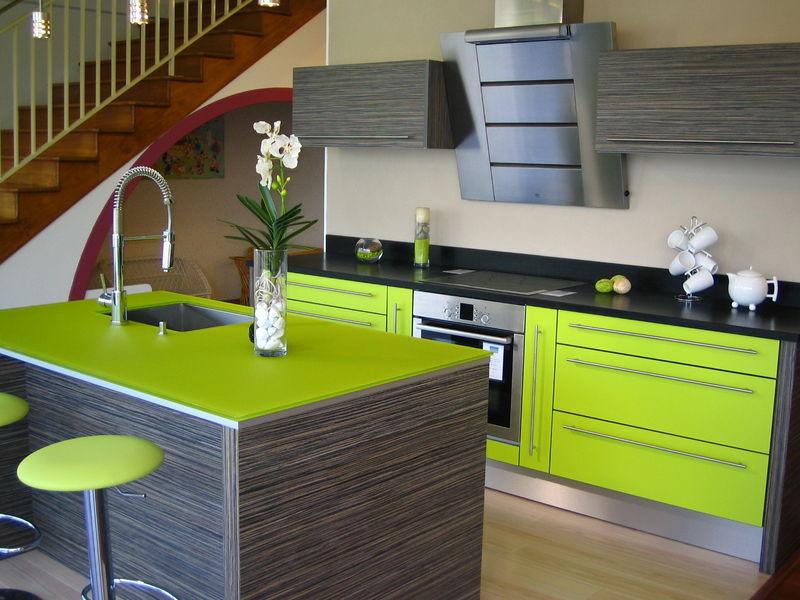 meuble cuisine vert anis
