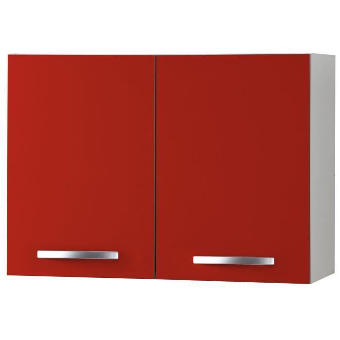 meuble haut cuisine rouge