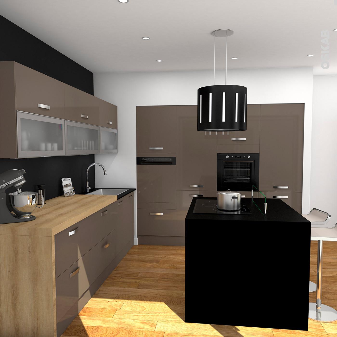 meuble haut cuisine taupe