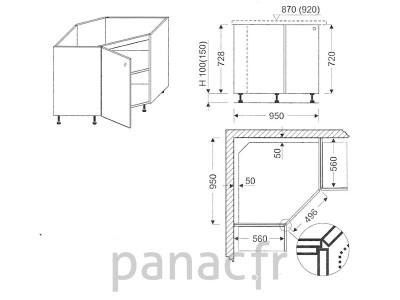 Surréaliste meuble angle cuisine dimension QD-34