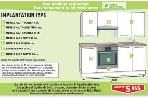 meuble cuisine 90 cm brico depot