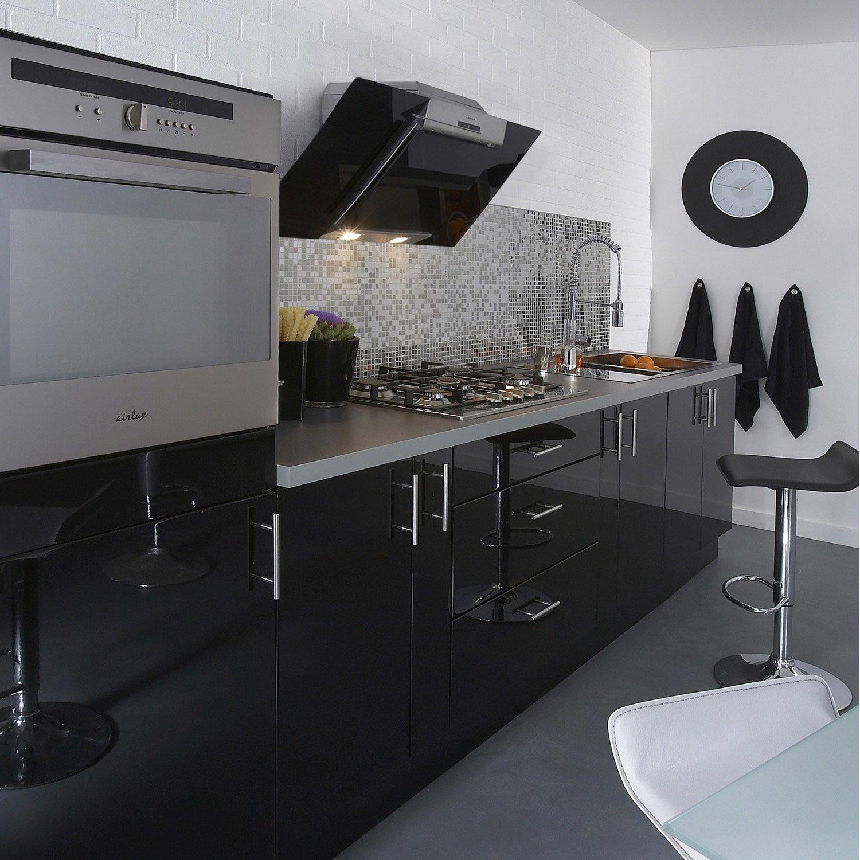 meuble cuisine noir laque