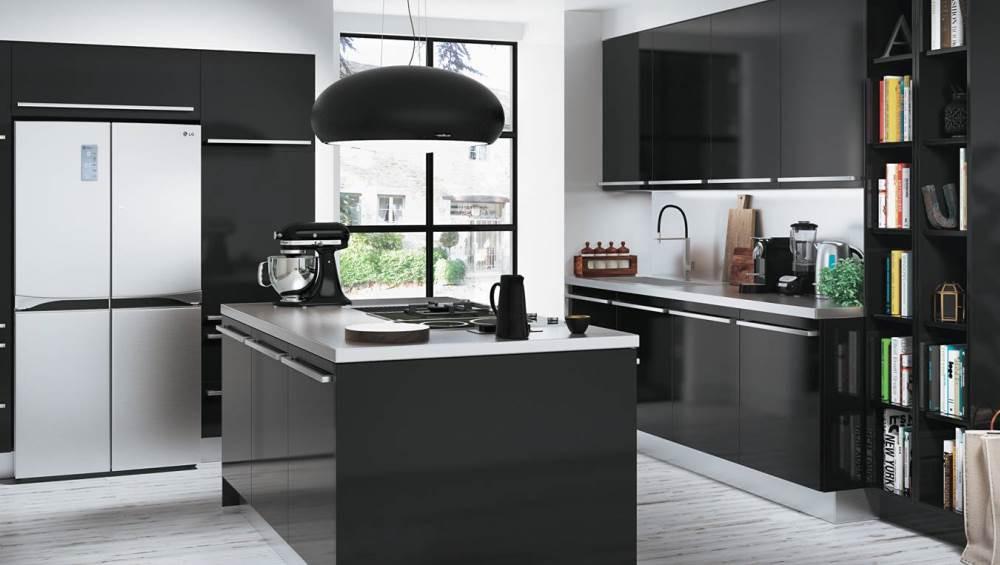 meuble cuisine noir quelle couleur pour les murs
