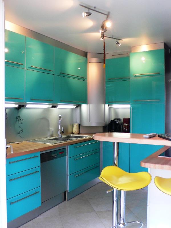 meuble cuisine turquoise